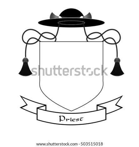 Catholic Priest Coat Arms Ecclesiastical Heraldry Stock Vector