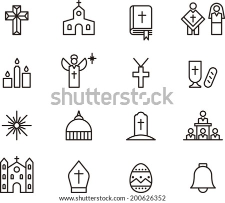 Catholic Religion icons - stock vector