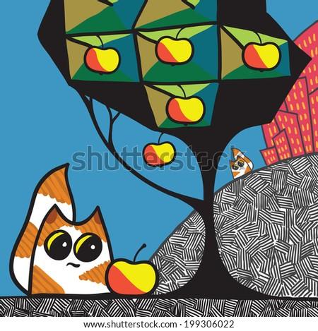 Cats and apple tree. Cartoon vector illustration. - stock vector
