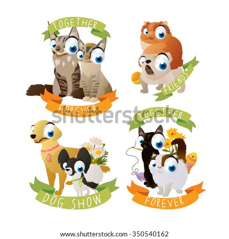 Cats and dogs labels. Collection of stickers for cats and dogs lovers. May be used as logos or tattoos for children. - stock vector