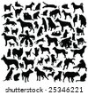 cats and dogs silhouette collection - stock vector