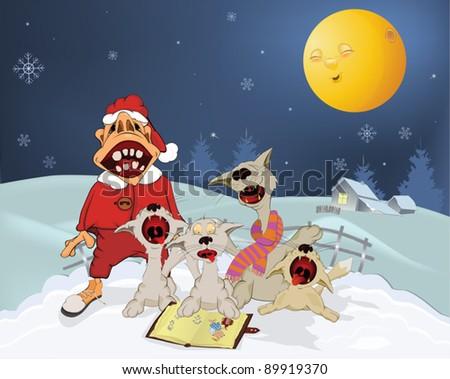 Cats  and Santa Claus sing Christmas hymns . Cartoon - stock vector