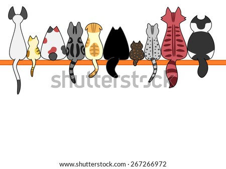 Cats back in a row with copy space - stock vector