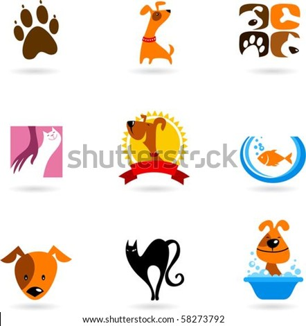 Cats, dogs and other pet icons - stock vector