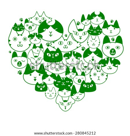 cats face in heart-shape - stock vector
