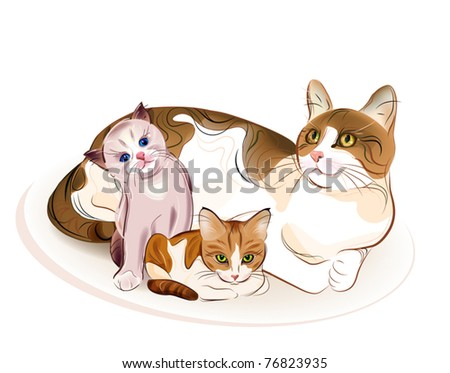 Cats family. Cat and  two kittens. - stock vector