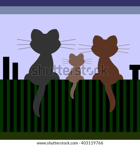 Cats family on the roof - stock vector
