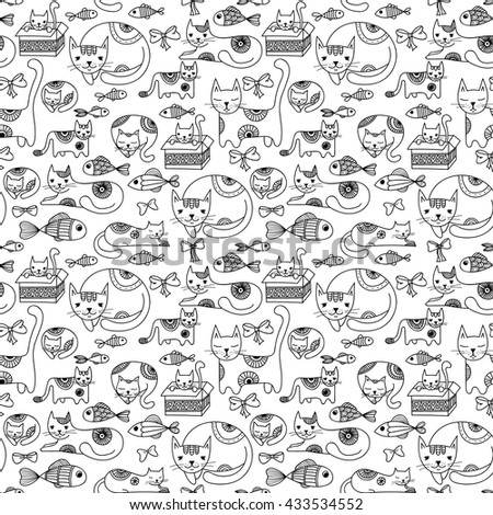 Cats, fishes, and bows seamless pattern. Hand drawn kittens black and white background.