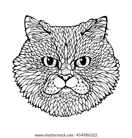 cats head black line art coloring page