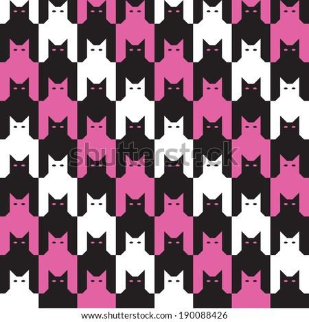 Cats Houndstooth Pattern with diagonal stripes, in pink, black and white repeats seamlessly. - stock vector