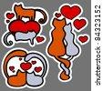 Cats in love - stock vector