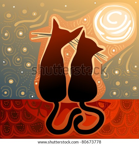 cats in love on a roof in the moonlight - stock vector