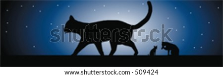 Cats in the moonlight - a vector image - 3 cats sillhouetted - stock vector