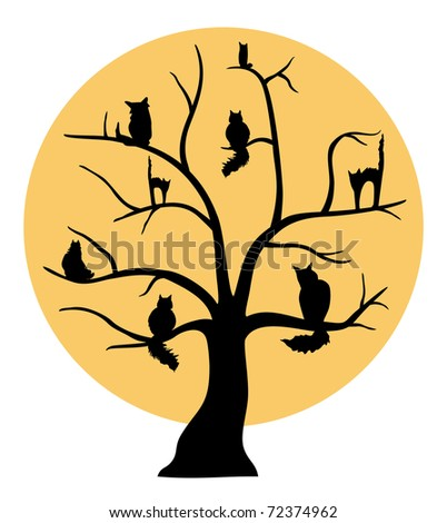 cats on tree - stock vector