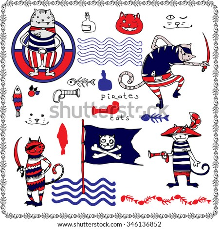 Cats pirates vector hand drawing illustration with fish frame, T-shirt boy and girl design, kids party design. - stock vector