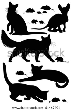 running cat silhouette  cats silhouettes - stock v...