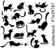 Cats silhouettes - poses, vector - stock photo