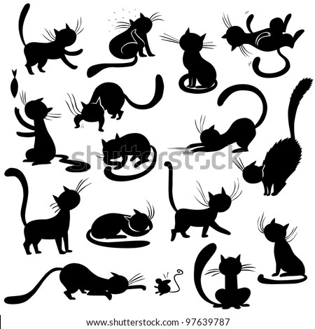 Cats silhouettes - poses, vector