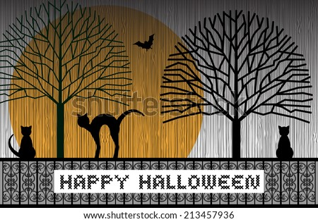 Cats sitting on a fence with trees and moon  - stock vector