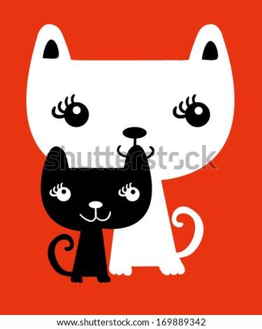 cats vector - stock vector