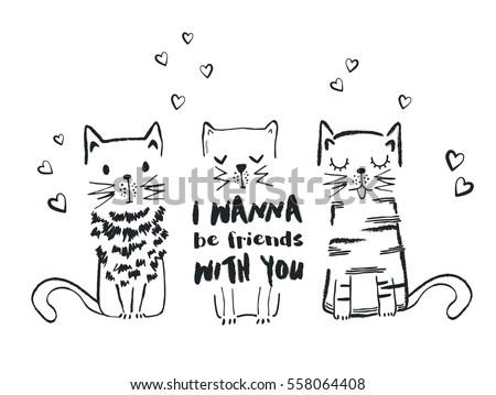 cats vector t shirt print cartoon characters cute cats hand drawn - Cartoon Characters To Print
