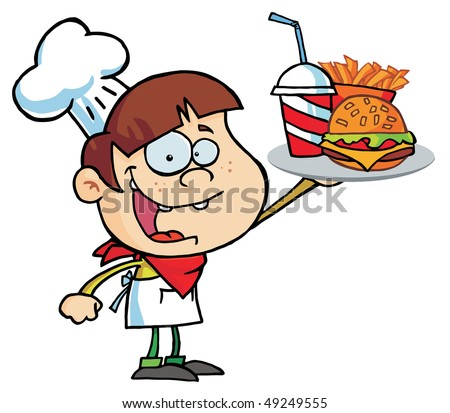 Caucasian Burger Boy Holding Up A Cheeseburger, Fries And Drink