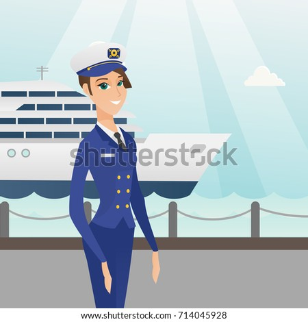 Caucasian Female Ship Captain Standing On Stock Vector - How to be a cruise ship captain
