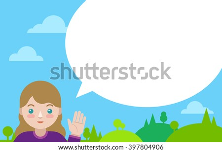 Caucasian girl with speech bubble