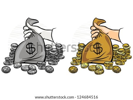 caucasian hand holding money bag with lots of gold coins around monochrome and colorful business/finance illustration
