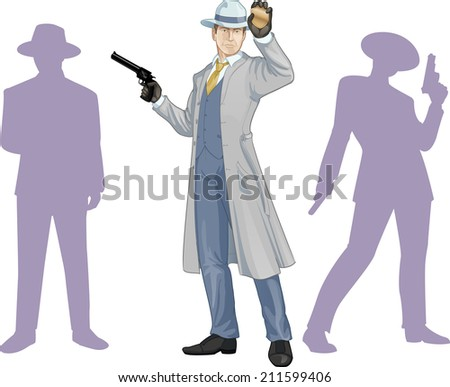 Caucasian police chief shows his badge with a gun and people silhouettes retro styled cartoon character with colored lineart - stock vector