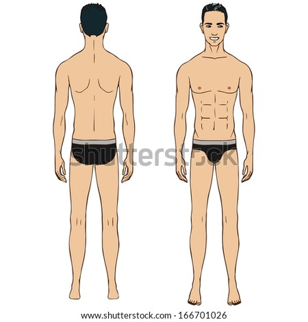 Caucasian standing man, full length portrait : front and back.  - stock vector
