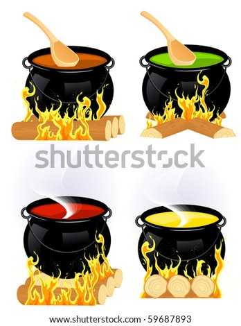 Cauldron collection, vector illustration - stock vector