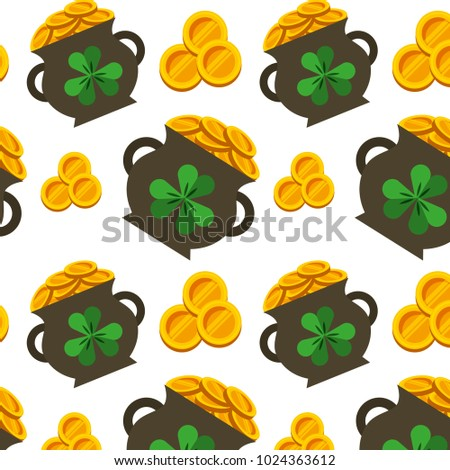 cauldron gold coins and clovers st patricks wallpaper