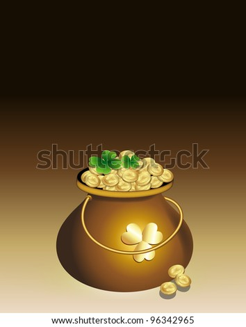 Cauldron of Gold Coins - stock vector