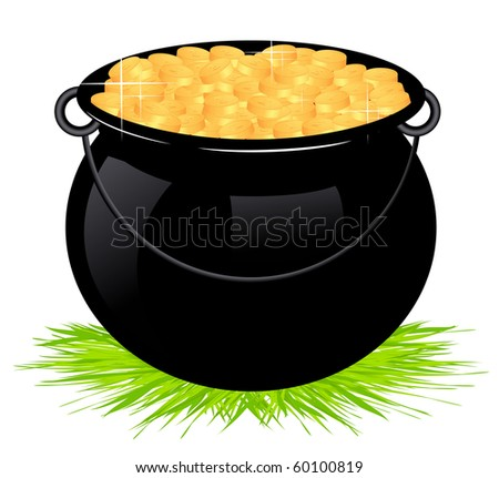 Cauldron with money isolated, vector illustration - stock vector