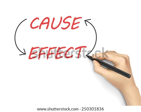 cause and effect written by 3d hand over white background - stock vector