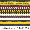 Caution and danger ribbon over gray background vector illustration - stock photo