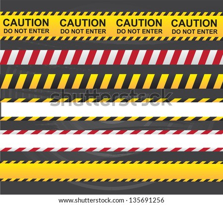 Caution and danger ribbon over gray background vector illustration - stock vector