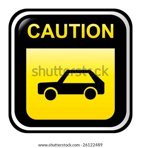 Caution - car - stock vector