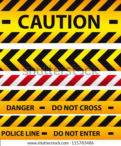 Caution, danger, and police tape attention - stock vector