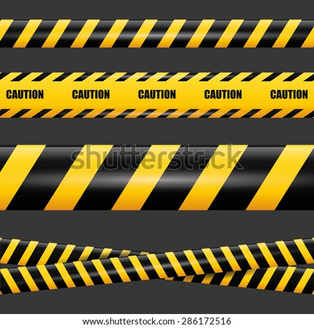 Caution design over black background, vector illustration. - stock vector