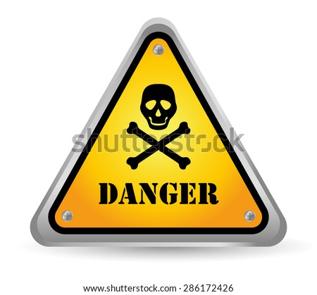 Caution design over white background, vector illustration. - stock vector