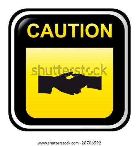 Caution - hand - stock vector