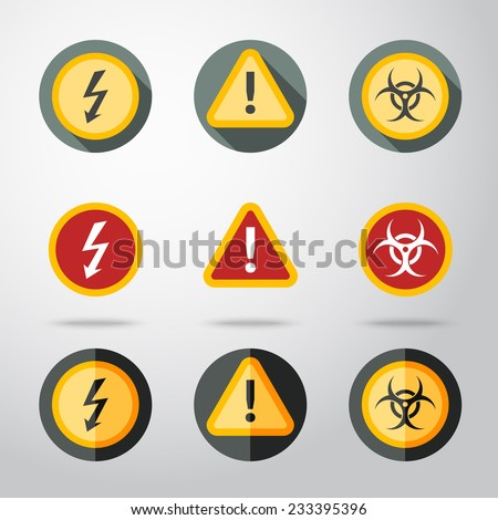 Caution icons set - high woltage, exclamation mark, contamination sign. In different flat styles. vector