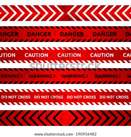 Caution lines on white background. Vector illustration. - stock vector