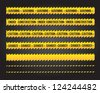 caution lines over black background vector illustration - stock photo