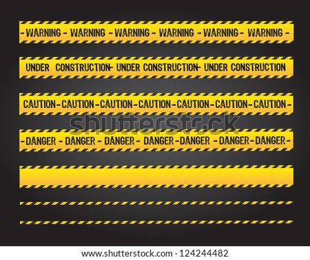 caution lines over black background vector illustration - stock vector