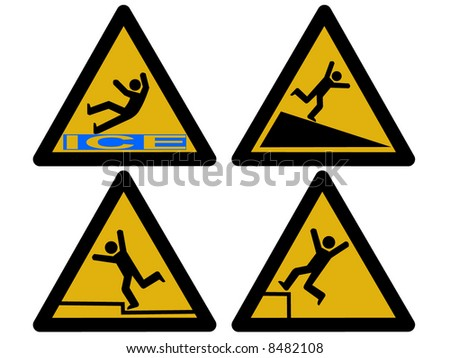 Caution signs figures falling tripping and slipping - stock vector