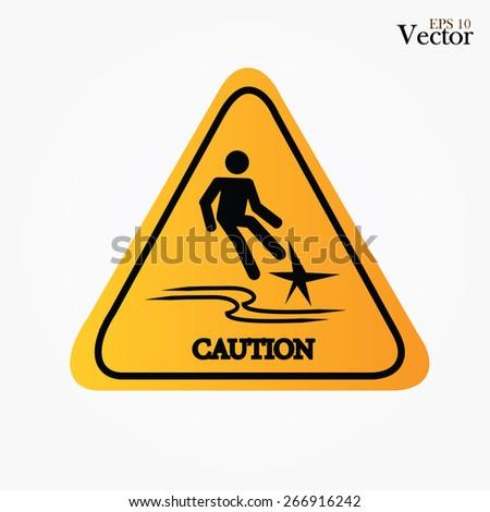 Caution � slippery.slippery sign.vector illustration    - stock vector