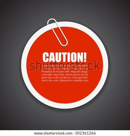 Caution text sticker - stock vector